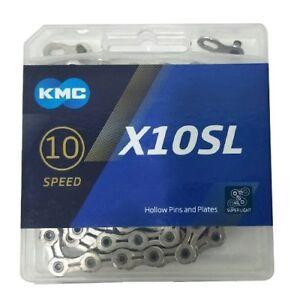 KMC X10SL x10 X10 SL 114Links Chain Silver 10 Speed w//Missing Link New