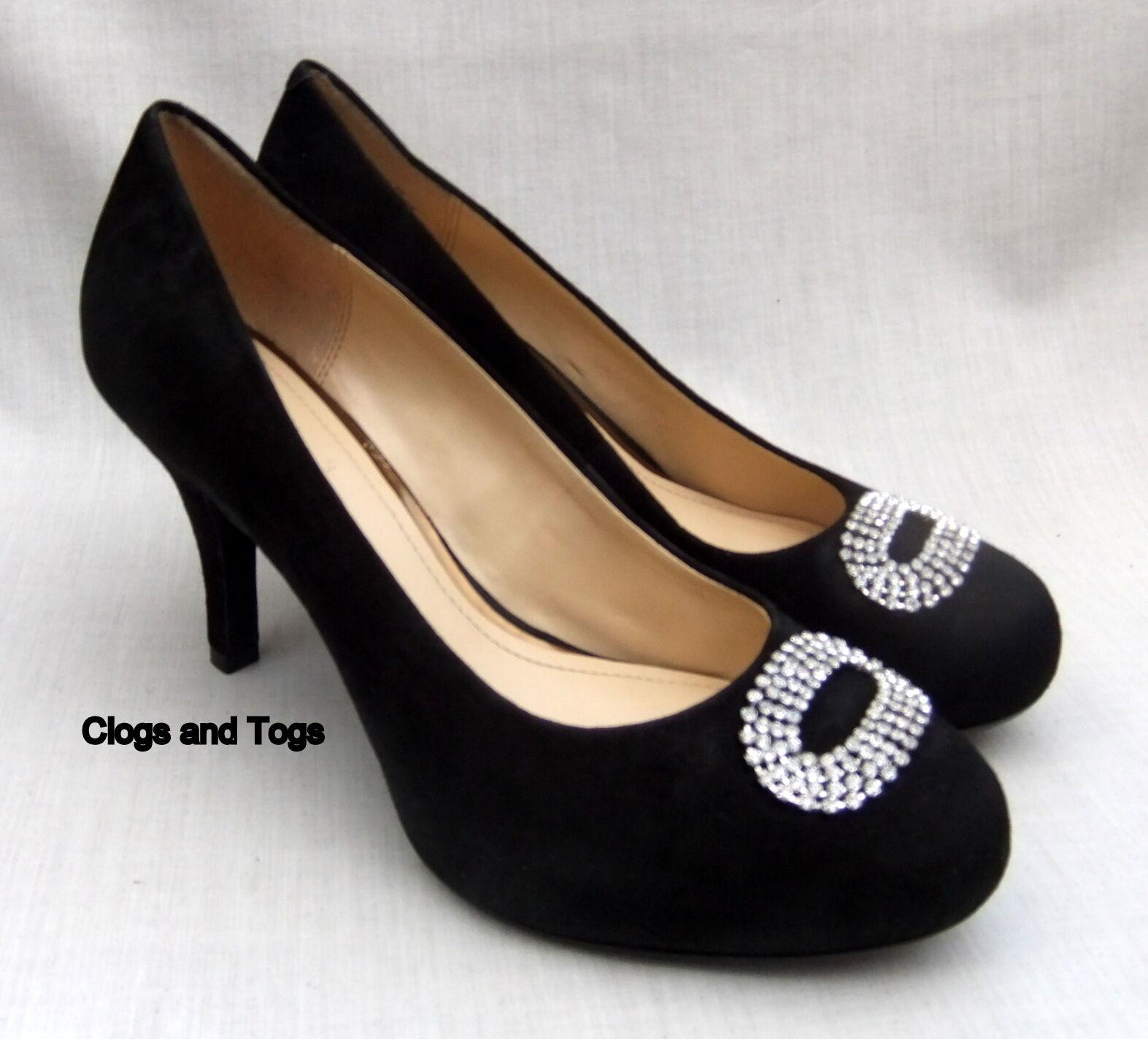 NEU CLARKS DRUM ROLL Damenschuhe BLACK SUEDE DIAMANTE HIDDEN PLATFORM Schuhe 7 / 41