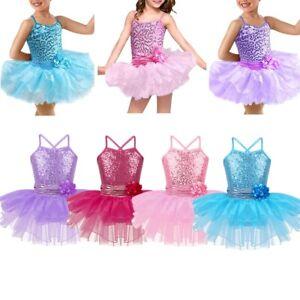Girls-Kids-Sequins-Ballet-Dance-Leotard-Tutu-Dress-Ballerina-Dancewear-Costume