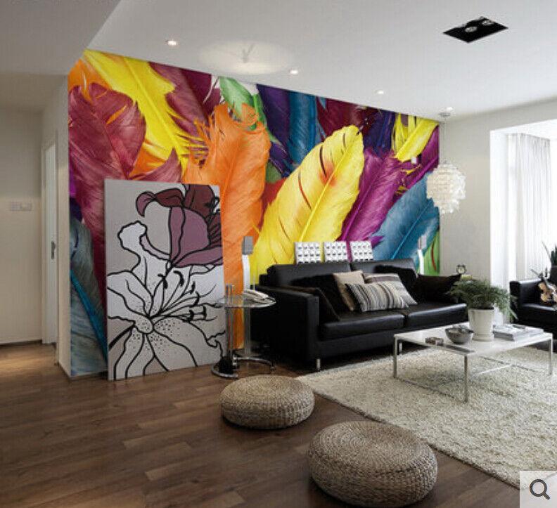 3D Farbige Federn 853 Tapete Wandgemälde Tapete Tapeten Bild Familie DE Summer