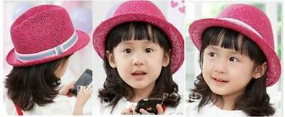 You Pick Color Fashion Fedora Straw Cap Kids Classic Summer Checker Hat Hipster