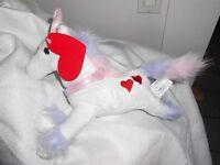 Walmart Wal-mart White Pink Hear Heart Unicorn Lovey Plush R2design 10