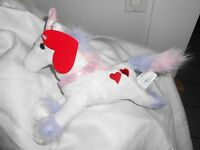 Walmart Wal-mart White Pink Hear Heart Unicorn Lovey Plush R2design 10