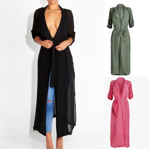 Womens Chiffon Cardigan Outwear Short Sleeve Waterfall Belted Duster Coat Jacket