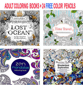 4-x-Colouring-Books-Drawing-Fun-Creative-Relax-Art-Children-24-Colour-Pencils