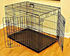 "Dog Kennel Crate Large 48"" Heavy Duty Metal Double Door Folding Pet Cage XL Size"
