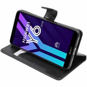 Détails sur Coque Huawei Y6 2018 Etui Portefeuille Housse PU Cuir Porte-Cartes, Noir
