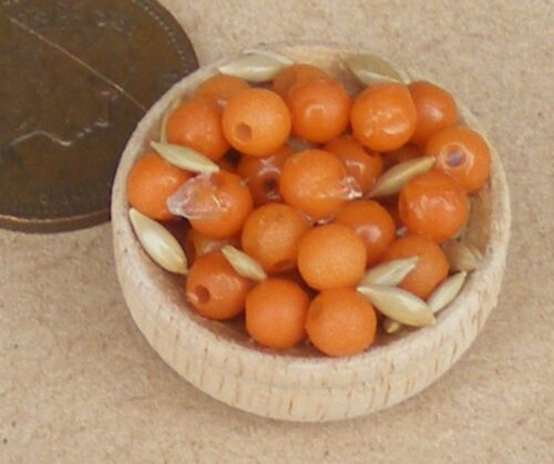 1:12 Scale Wood Bowl Of Assorted Nuts Miniature Tumdee Dolls House Food Snack