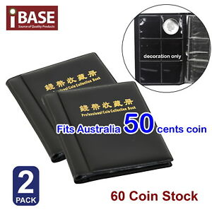 2x Coin Album Holder Storage Collection Collecting Stock Pocket 60 Slots 50 cent 714439060688