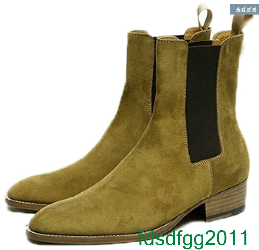 Europe Mens Block Heel Leather Suede Round Toe Buckle Ankle Knight Boots shoes