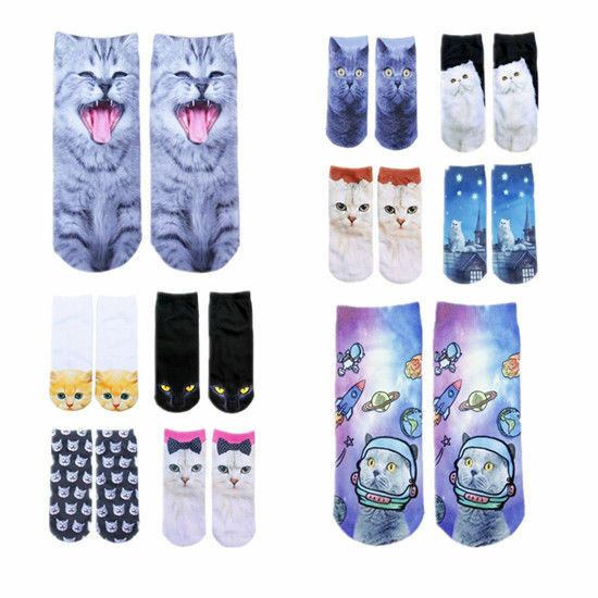 3D Fashion Printed Women Hot Ankle Socks Casual Socks Animal Cute Cat Novelty Clothing, Shoes & Accessories