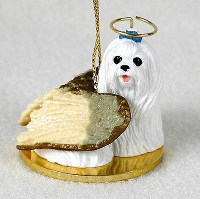 Maltese Dog Figurine Angel Statue