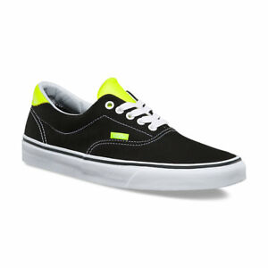 8d5fa42a78cc17 Vans ERA 59 Mens Shoes (NEW) Black Yellow Neon Leather SIZE 7-13 ...