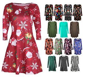 d51f87b6d12 UK Womens Christmas Jumper Dress Santa Snowman Long Sleeves Ladies ...