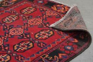 3x9-Oriental-Vintage-Hand-Knotted-Red-Wool-Traditional-Runner-Area-Rug