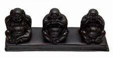 Black Three Wise Chinese Buddha Statue Ornament See, Speak, Hear No Evil