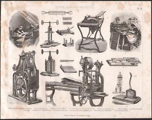 1870 Gravure originale mécanique fabrication cigares tabac machines - France - Type: Gravure Authenticité: Original Période: XIXme et avant Thme: Science - France