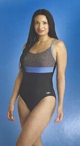 6e20bb1285cc3 NWT Speedo Women's One-Piece Color Block Swimsuit HEATHER GRAY ...