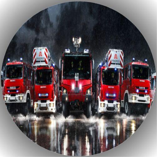 Tortenaufleger Geburtstag Tortenbild Fondant Oblate Feuerwehrauto L6