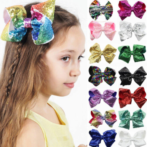 New Baby Girls JOJO Sequins Large Bowknot Rainbow Bows Hairpin Hair Pin Glitter
