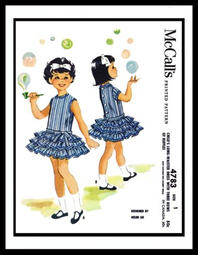 McCall/'s 4783 Helen Lee Girl Sewing Pattern LOW WAISTED Ruffle DRESS Toddler PIC