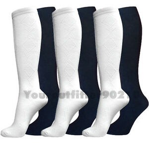 12 Pairs Knee High Uniform School Diamond Pattern Socks White Girls Kids 4-6 6-8