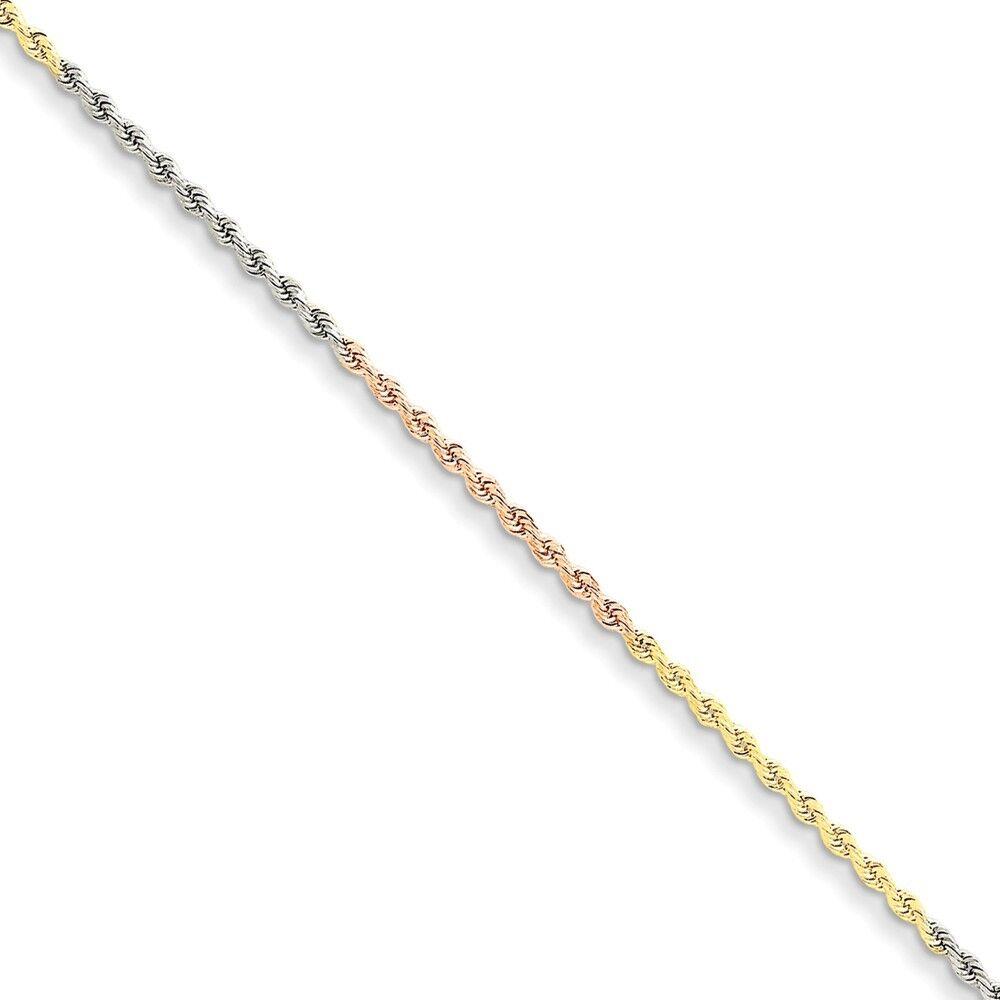 14k Tri-color gold 1.75mm Diamond-Cut Rope Chain Bracelet 8 Inch