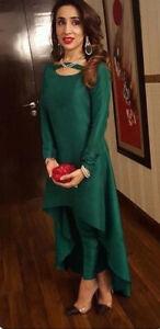 Sexy Dark Green Silk Salwar Kameez Modern Designer Pant Suit Women S Dhoti Kurta Ebay