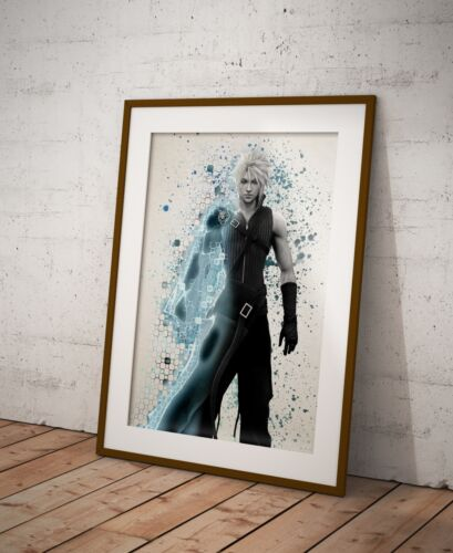 Final Fantasy Cloud Poster Watercolor Wall Decor Game Print Poster Gift R8