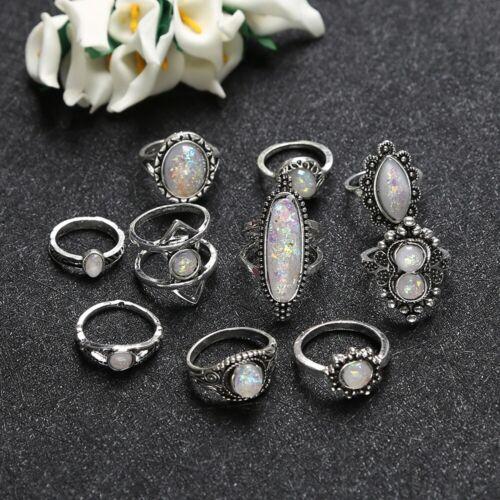 Set of 10 Ring Boho Knuckle Fashion White Heart Love Diamond Thumb Stack Jewelry