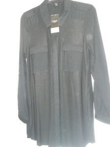 SEXY-LADIES-BLACK-NEXT-LONG-SLEEVE-TUNIC-BLOUSE-TOP-SHIRT-SIZE-10-NEW-COLLAR