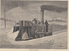 Locomotiva, tedesca, spazzaneve, xilografia, 1878