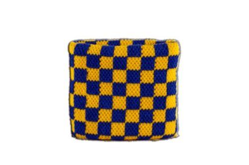 Schweißband Fahne Flagge Karo Blau-Gelb 7x8cm Armband für Sport