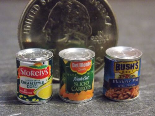 Dollhouse Miniature FOOD 3 Cans Vegetables 1:12 Inch Scale E76A Dollys Gallery