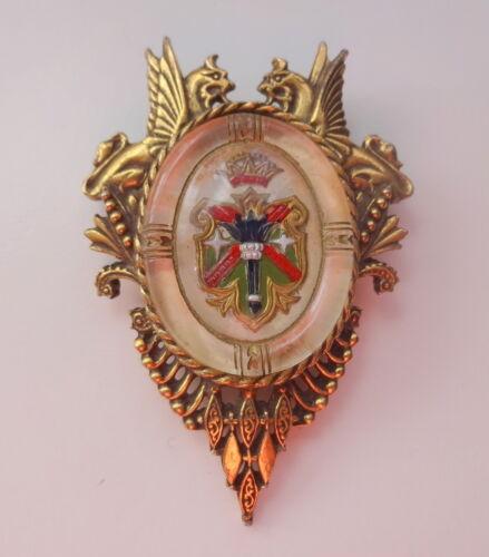 Antique Victorian Heraldic Griffin Crown Coat Of A