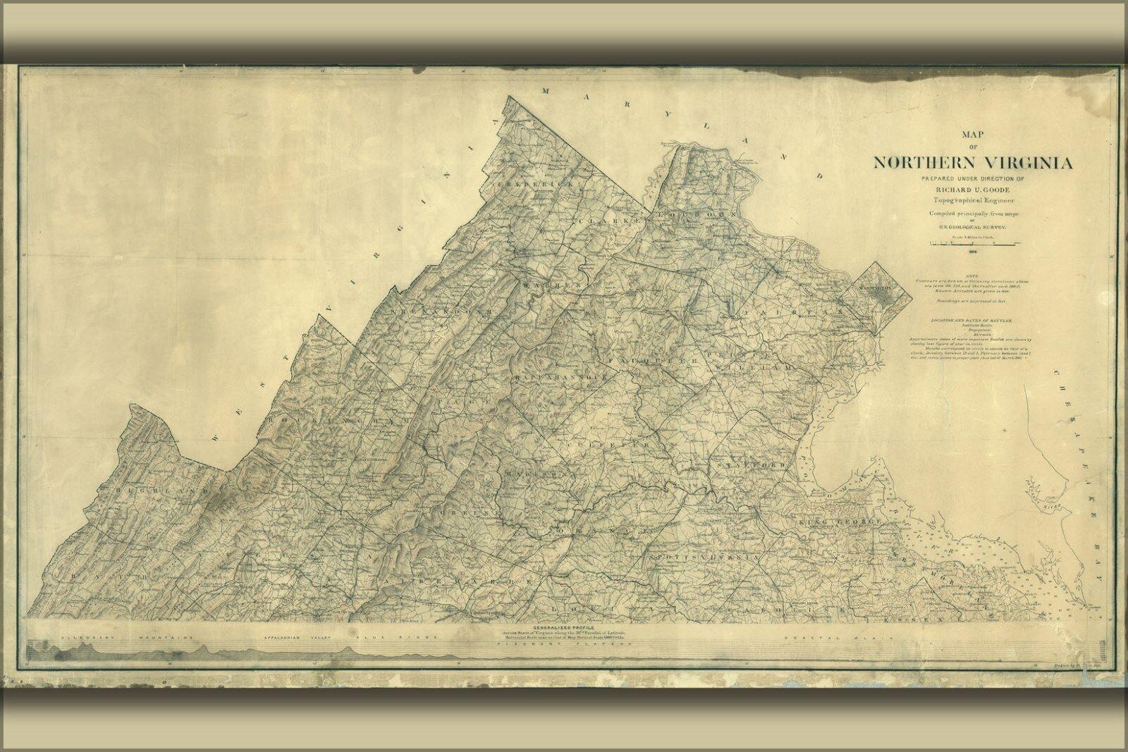 Plakat, Viele Größen; Karte von Nördlich Virginia