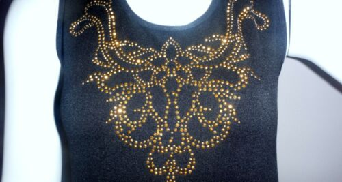 Woman/'s LC COUTURE S//M EMBELLISHED Black T-SHIRT TANK TOP Goldtone Studs NWOT