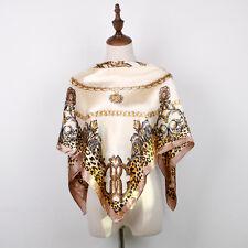 "New Women's Beige Leopard Print Head Scarf Silk-Satin Square Shawl Scarf 35""*35"""