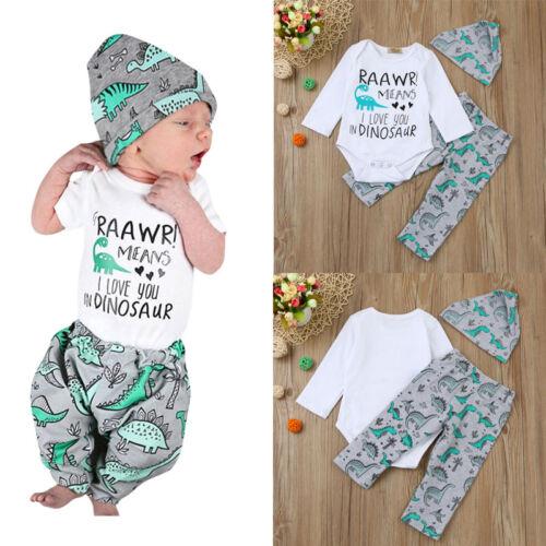 3Pcs Newborn Baby Boy Girl Tops Romper Bodysuit Jumpsuit Pants Outfits Clothes