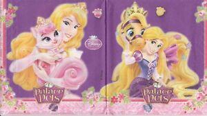 3 Lunch Papier Servietten Napkins (129) Disney Princess mit Katze Hund Pferd