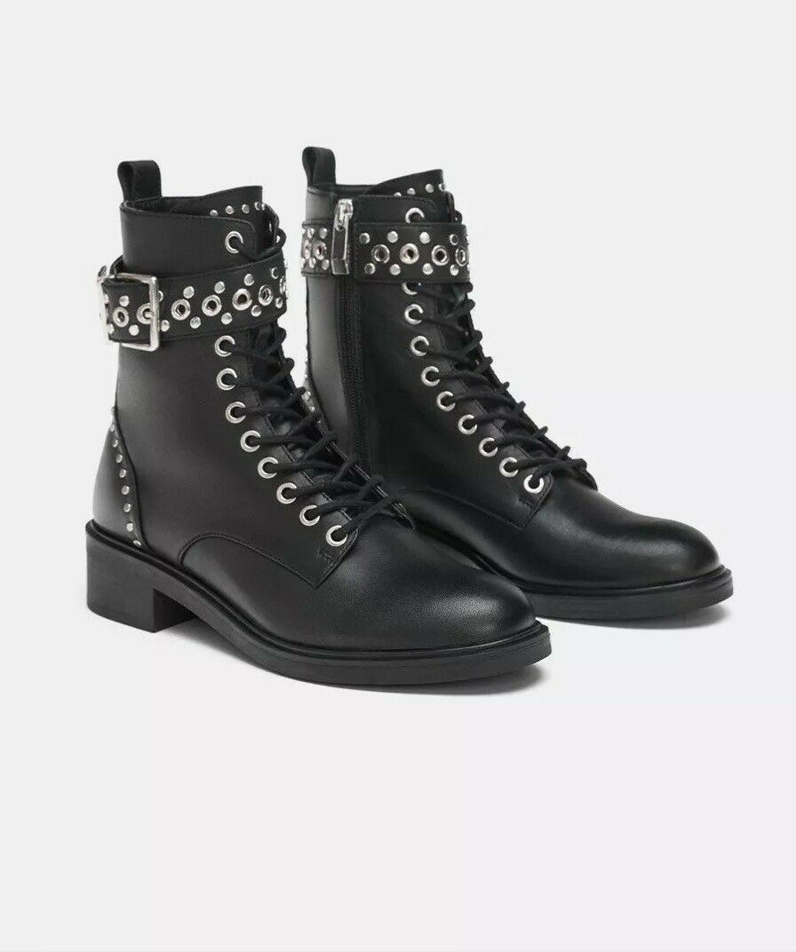 Zara Zara Zara Cuero Negro Tachonado Biker botas al Tobillo Estilo Militar UK7 EU40 US9  alta calidad general
