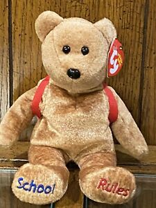 """2007 Ty Beanie Baby Brown Bear with Backpack, """"123's,"""" 8 1/2"""" Tall"""