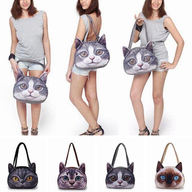 Women 3D Cute Cat Face Shoulder Bag Cat Animal Pattern Handbag Shopping Purse