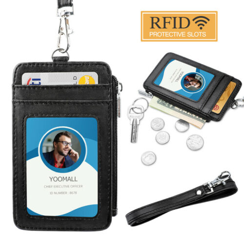 ID Badge Card Holder Pu Leather Vertical Clip Neck Strap Lanyard Necklace Case