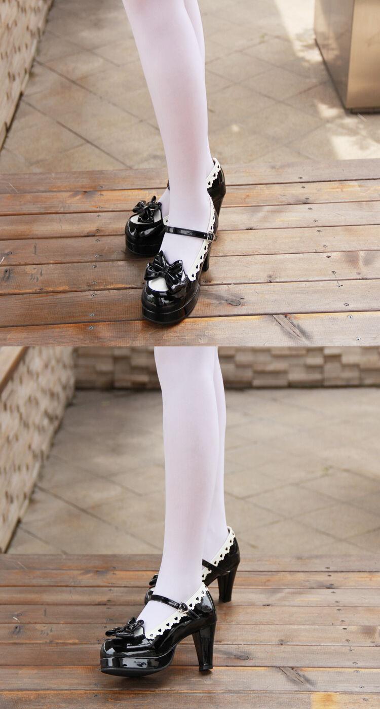 Schwarz Gothic Goth Lolita Damen-schuhe Pumps Plateau High heel Lady Cosplay Neu
