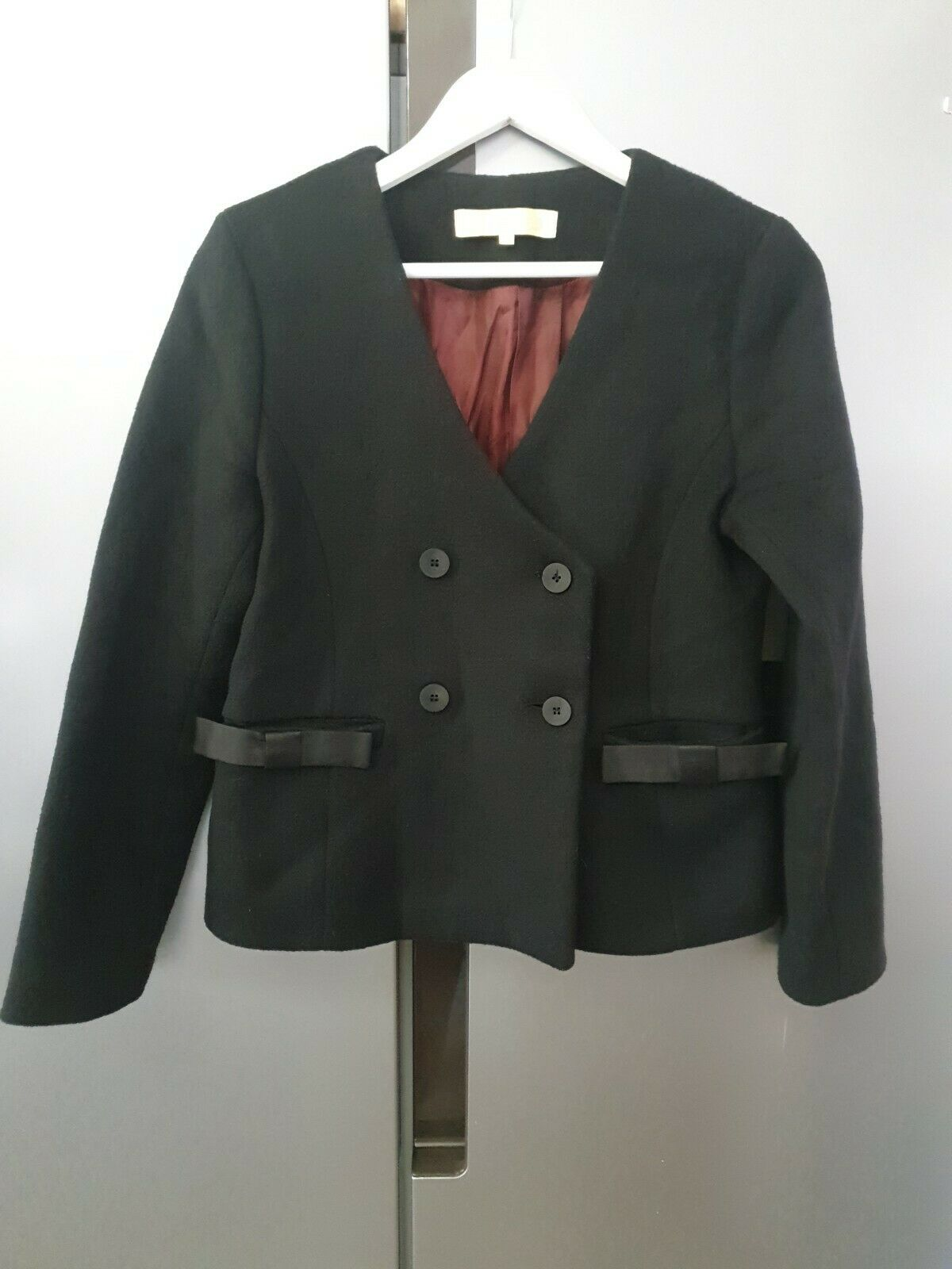 Bonsui Women's Smart Jacket Blend 65% Wool T2 UK12 Fitted Cropped Waist Length