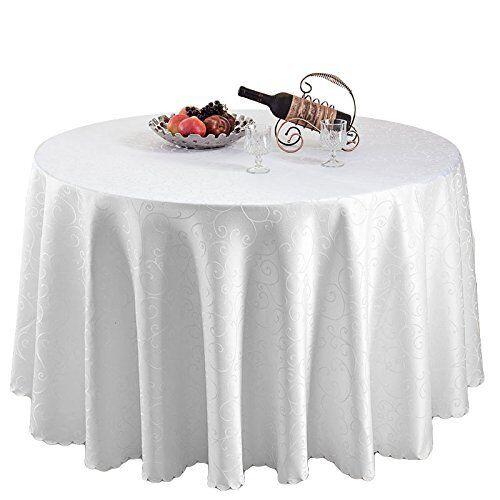 Damassé Nappe polyester housse de table nappe de cuisine rond blanc Swirl 70 in environ 177.80 cm