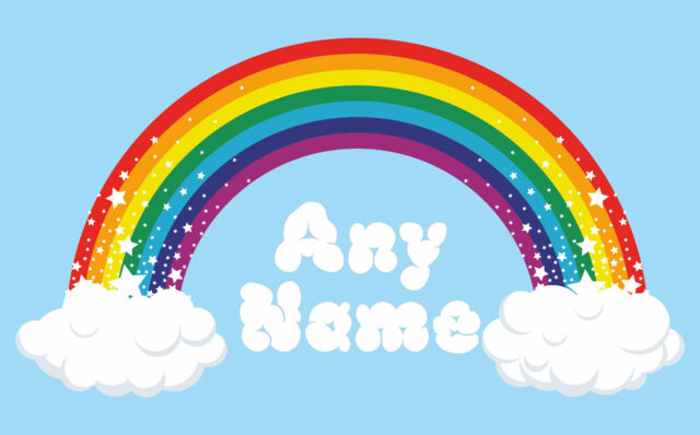 Personalised Rainbow Wall Art  Choose any name vinyl sticker, full colour  decal