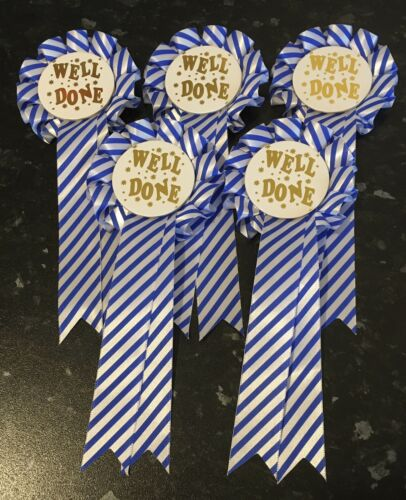 *FREE 1st CLASS POSTAGE* 5 Well Done Stripe Rosettes Choose your colour