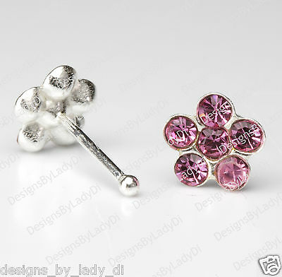Silver Nose Stud One (1) Bone Ring Daisy Flower Crystal Pink Gems Body Jewelry